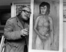 Isherwood with  painting titled Georgina Best