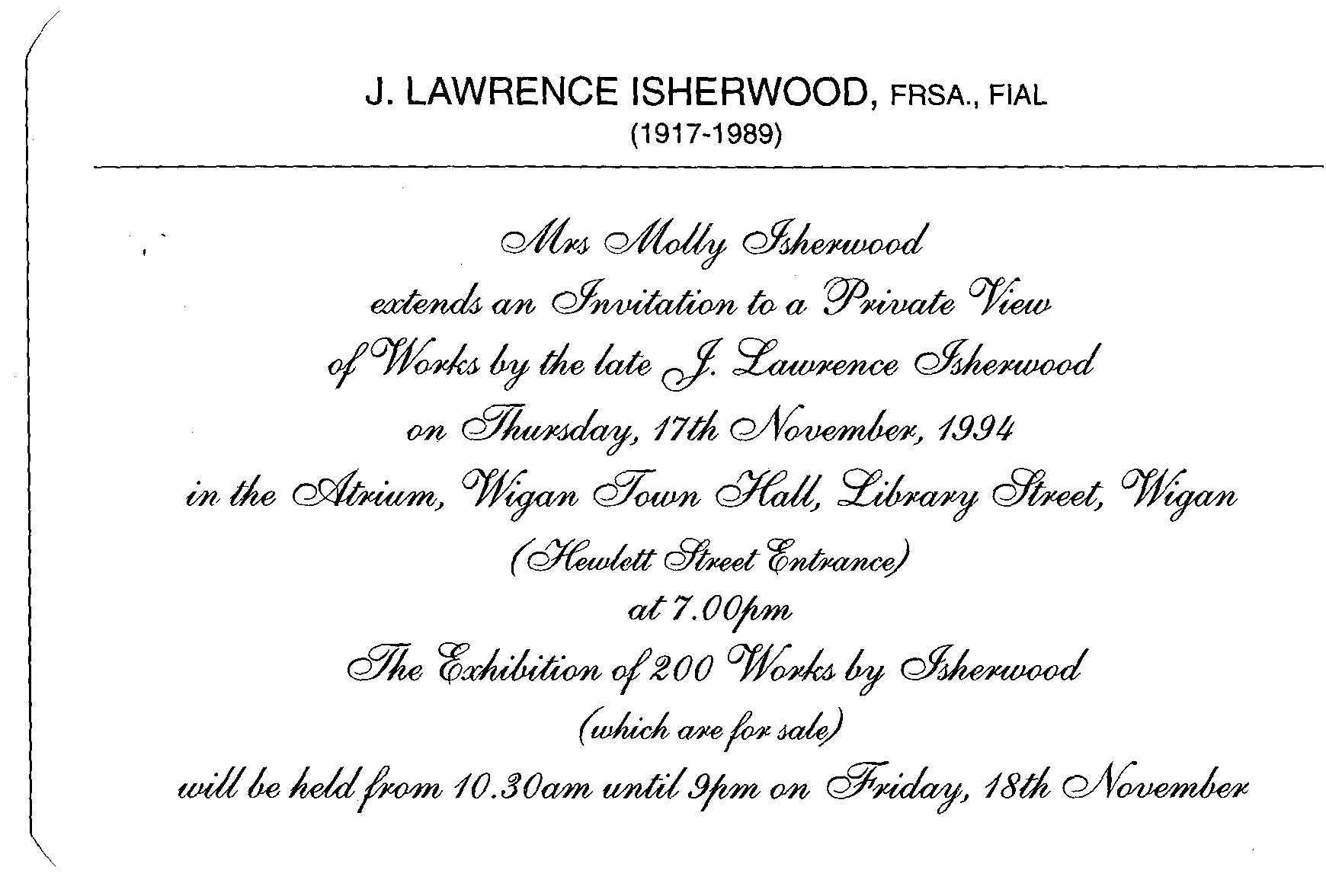 Molly isherwood art by isherwood invitation to an exhibition of family owned paintings stopboris Image collections