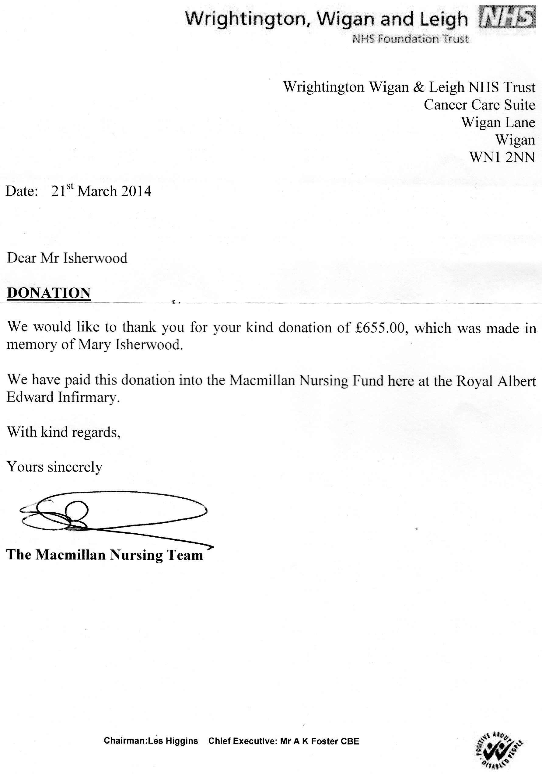 sample donation letter in memory of someone